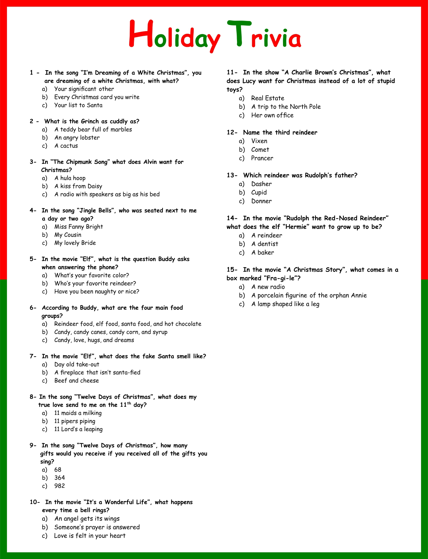 5 Best Free Printable Christmas Trivia Questions