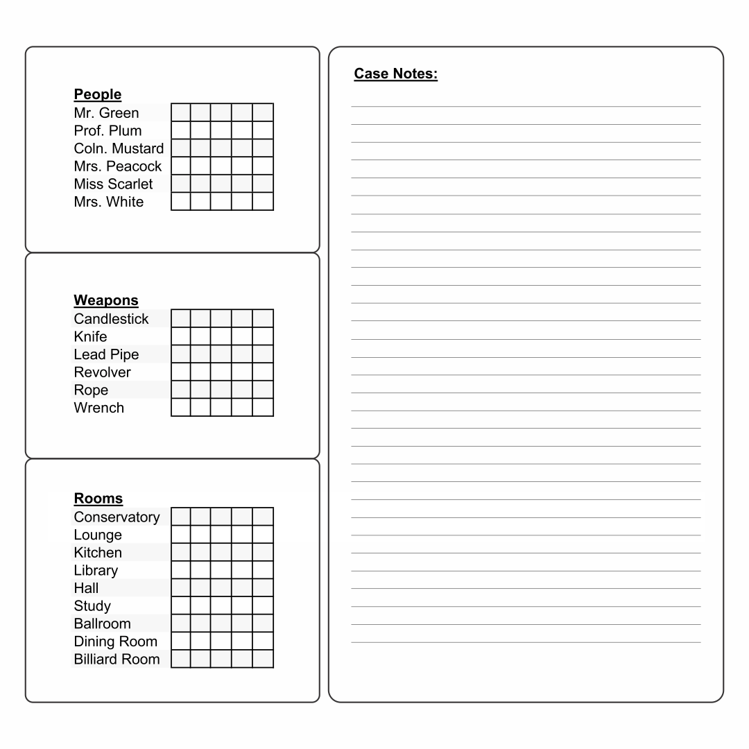 Search Results For Blank Clue Sheets Calendar