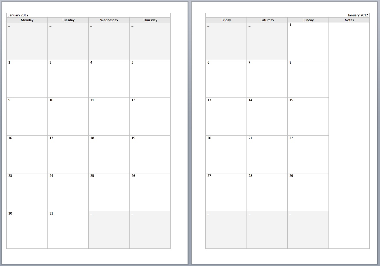 8 Best Images Of Printable 2 Page Per Month Planner