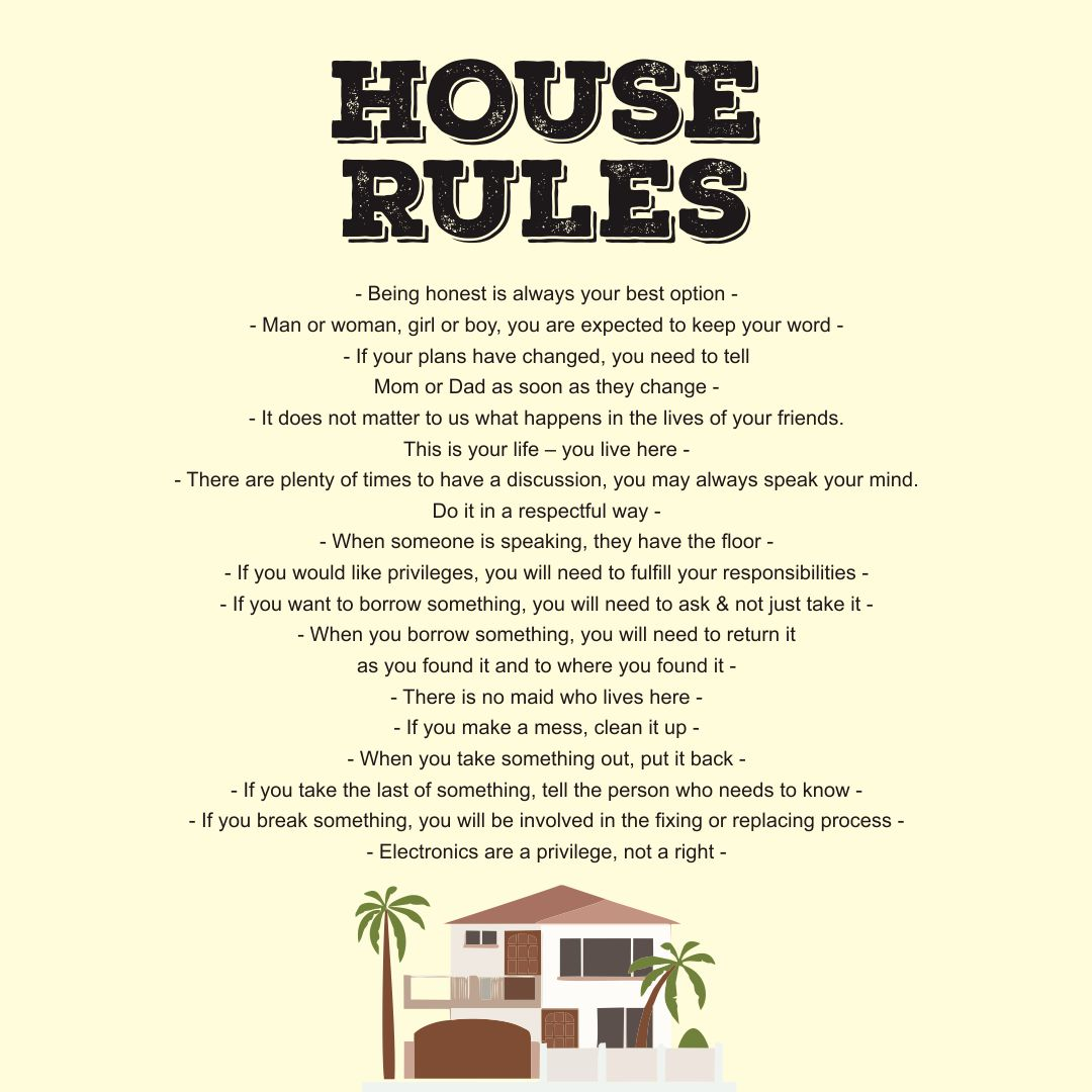 9 Best Images Of Printable Household Rules