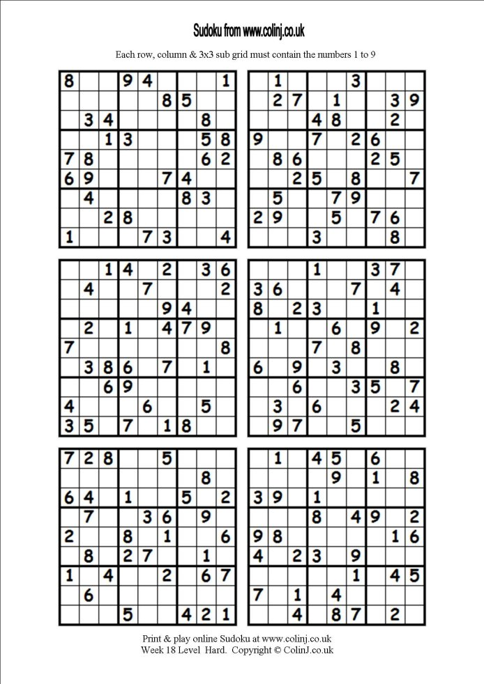 Accomplished image in printable sudoku 6 per page