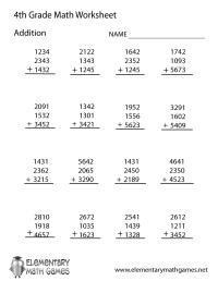 Hard Math Worksheets For 4th Graders