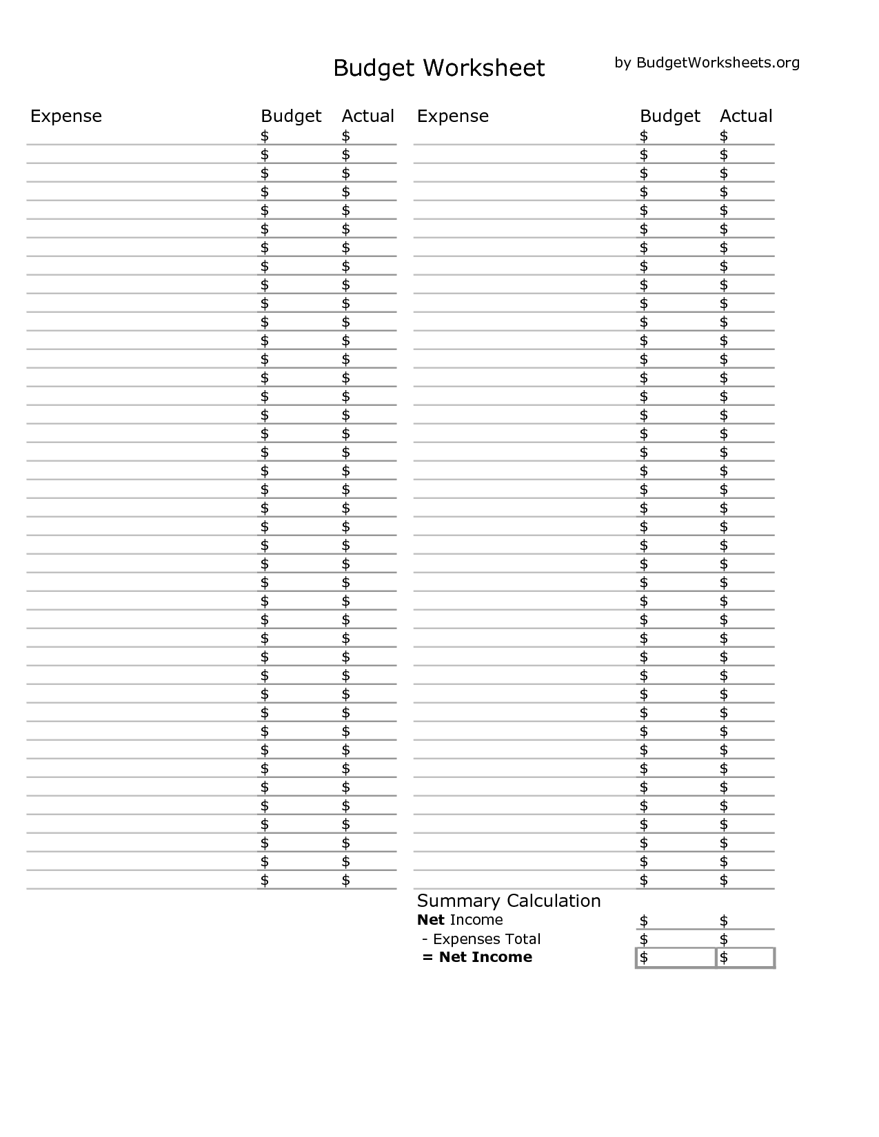 8 Best Images Of Excel Blank Budget Worksheet Printable