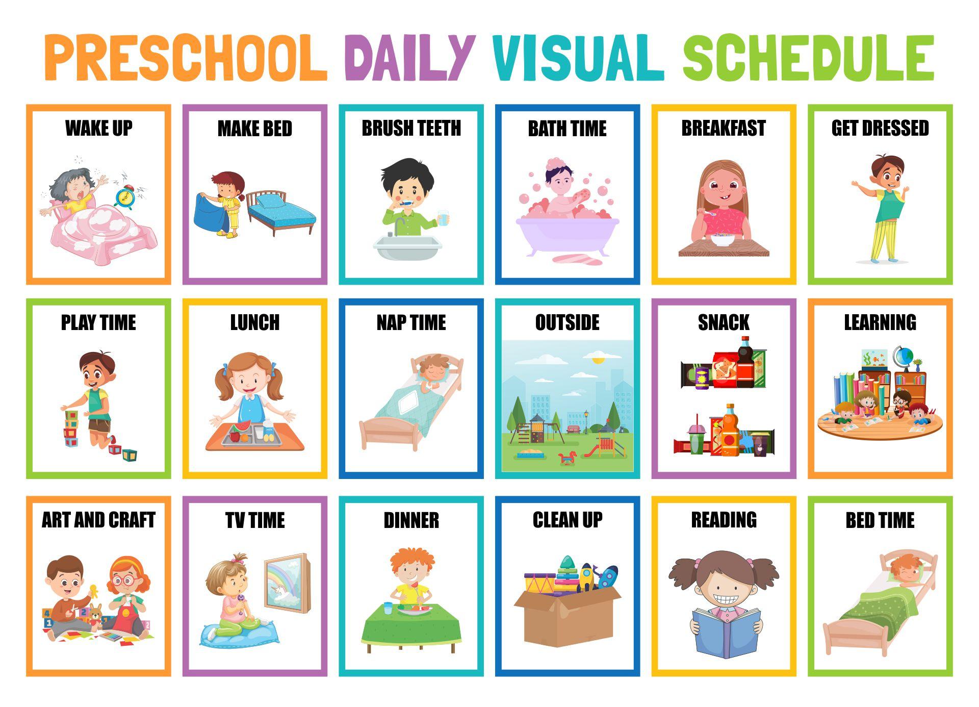 6 Best Images Of Printable Preschool Visual Daily Schedule