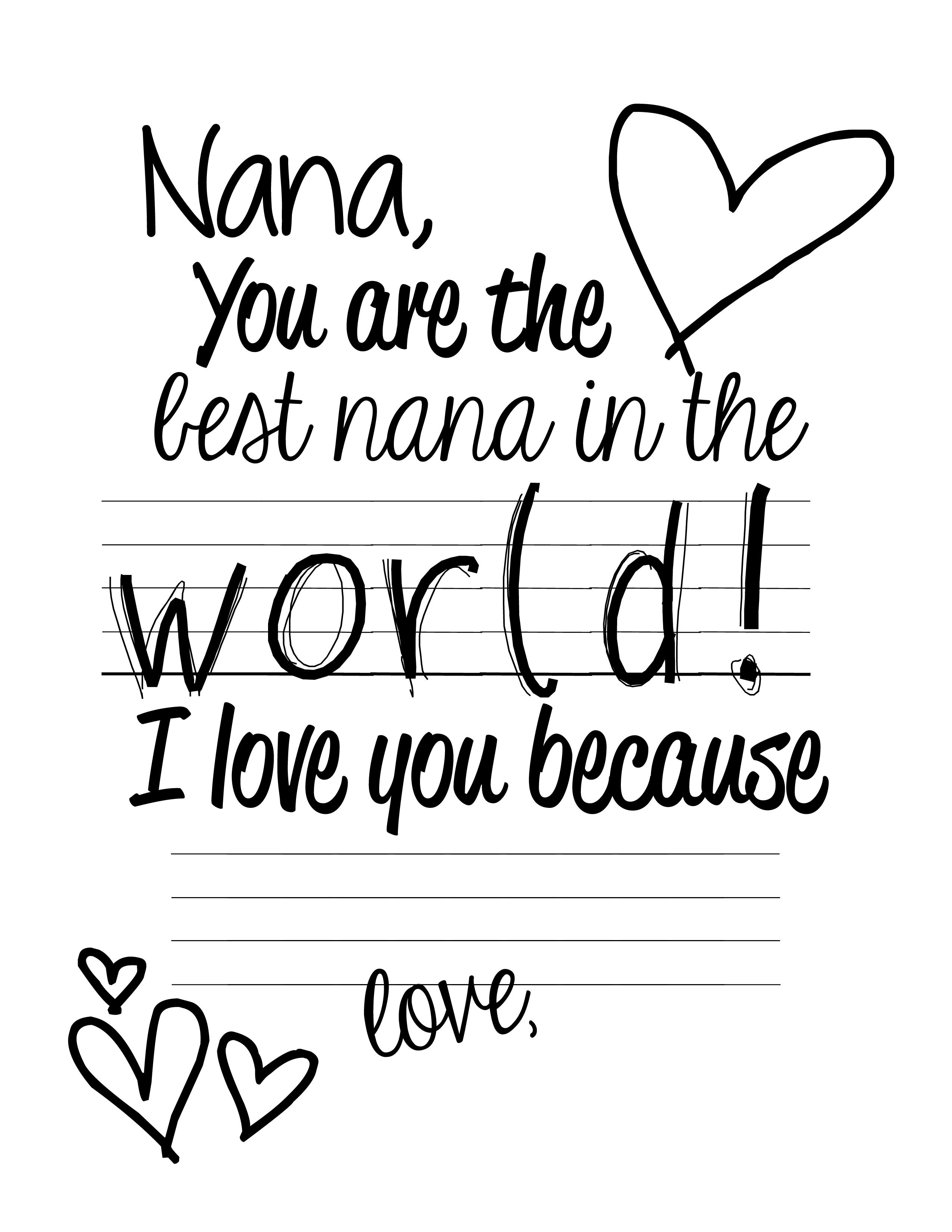 I Love You Nana Pages Coloring Pages