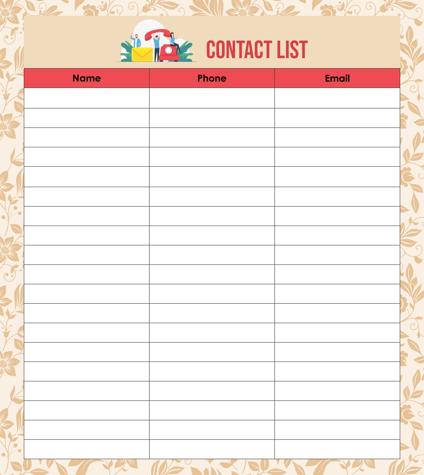 7 Best Images of Phone Contact List Template Printable - Printable Phone List Template. Free Printable Contact List and Free Printable Contact ...