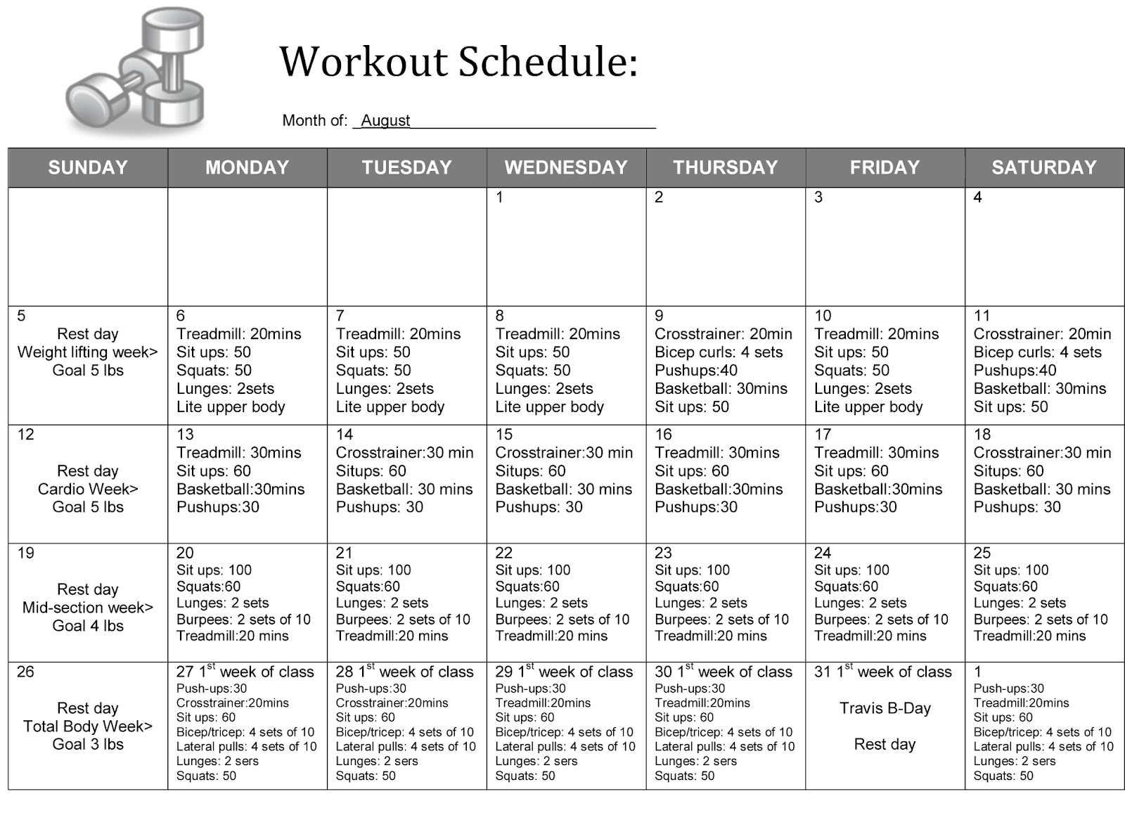 5 Best Images Of Weight Lifting Schedule Printable