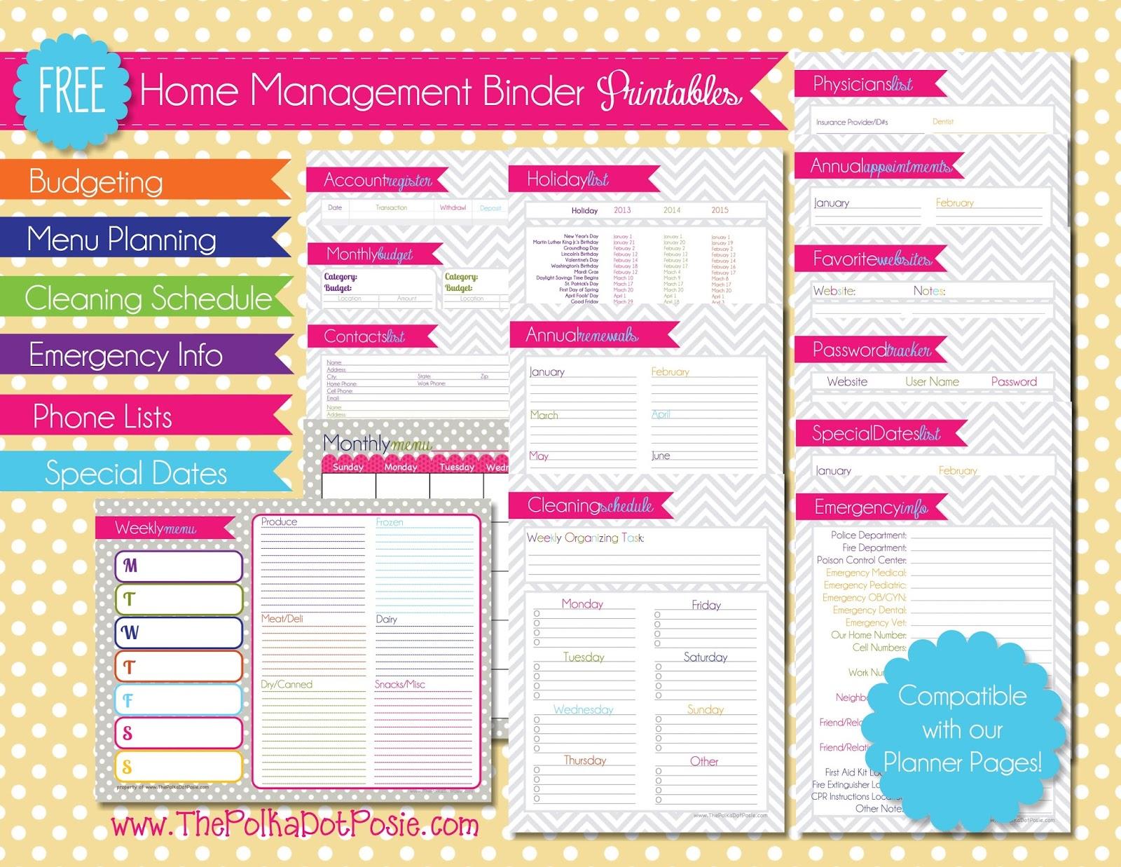 8 Best Images Of Home Management Binder Printables