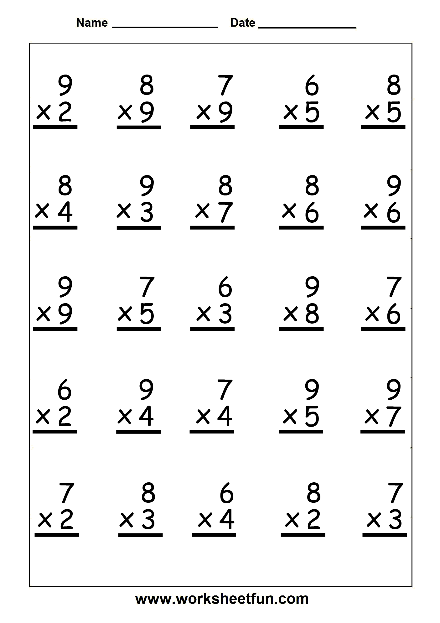 6 Best Images of Free Printable Math Sheets Multiplication