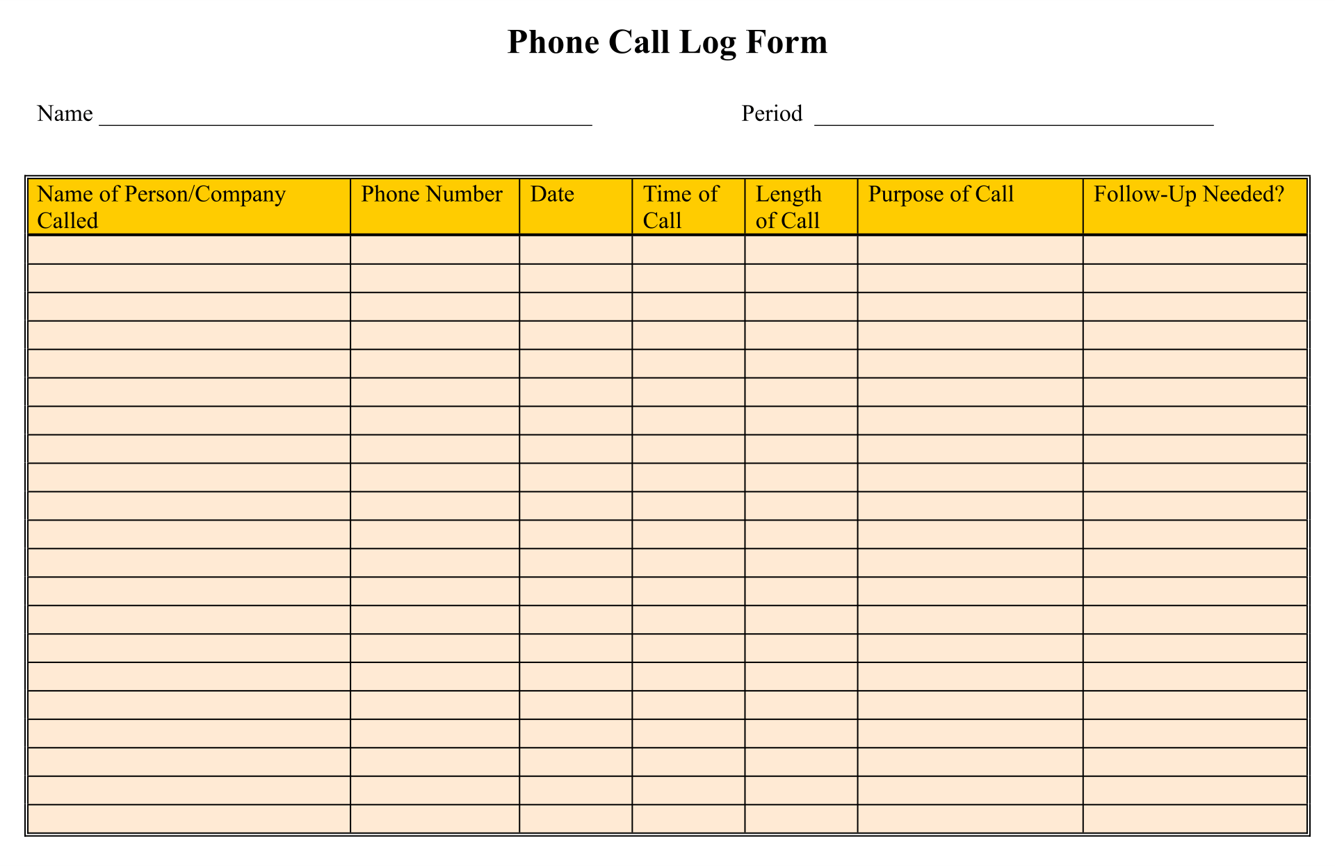 9 Best Images Of Free Printable Phone Log Form