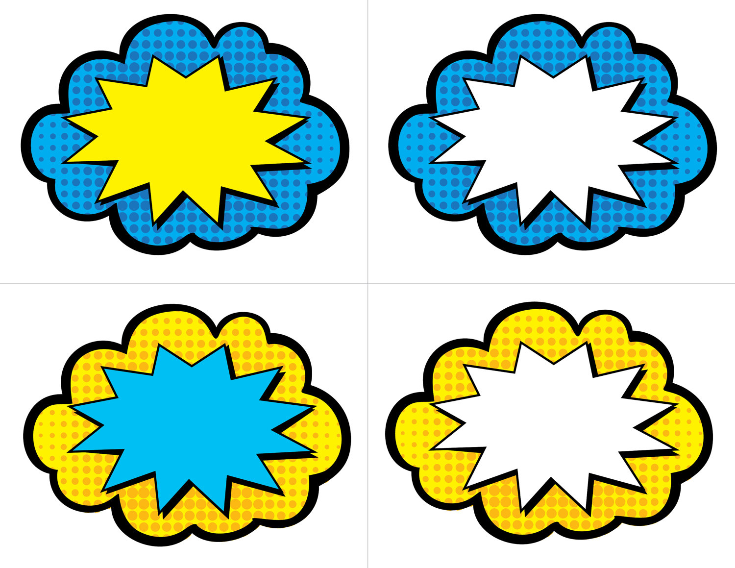 5 Best Images Of Giant Superhero Word Bubble Printables
