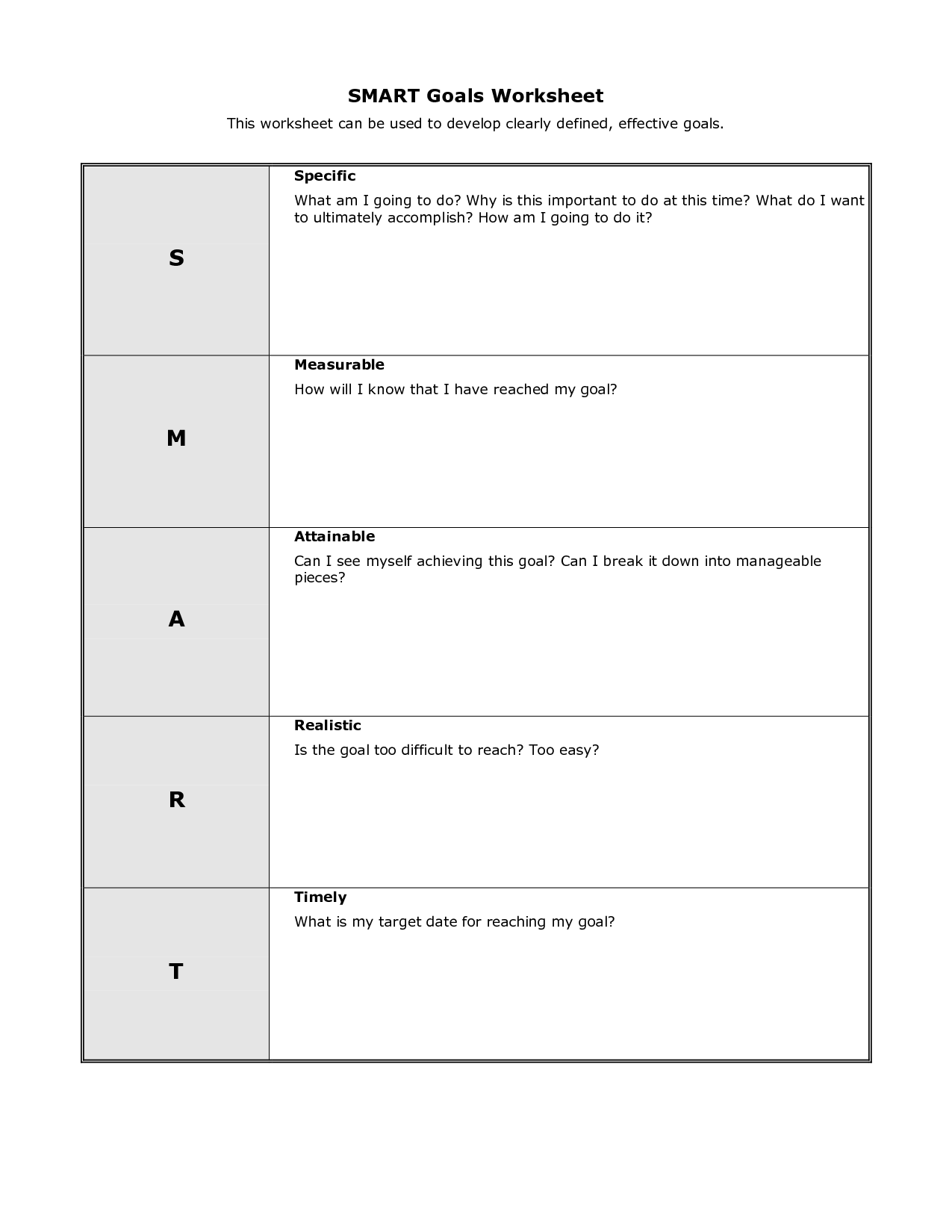 9 Best Images Of Personal Goal Worksheet Printable