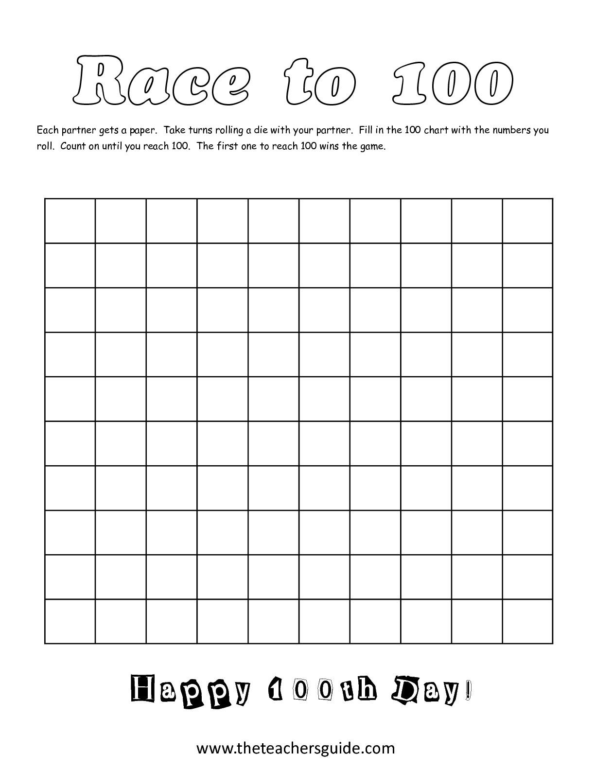 Blank 100 Chart Worksheet