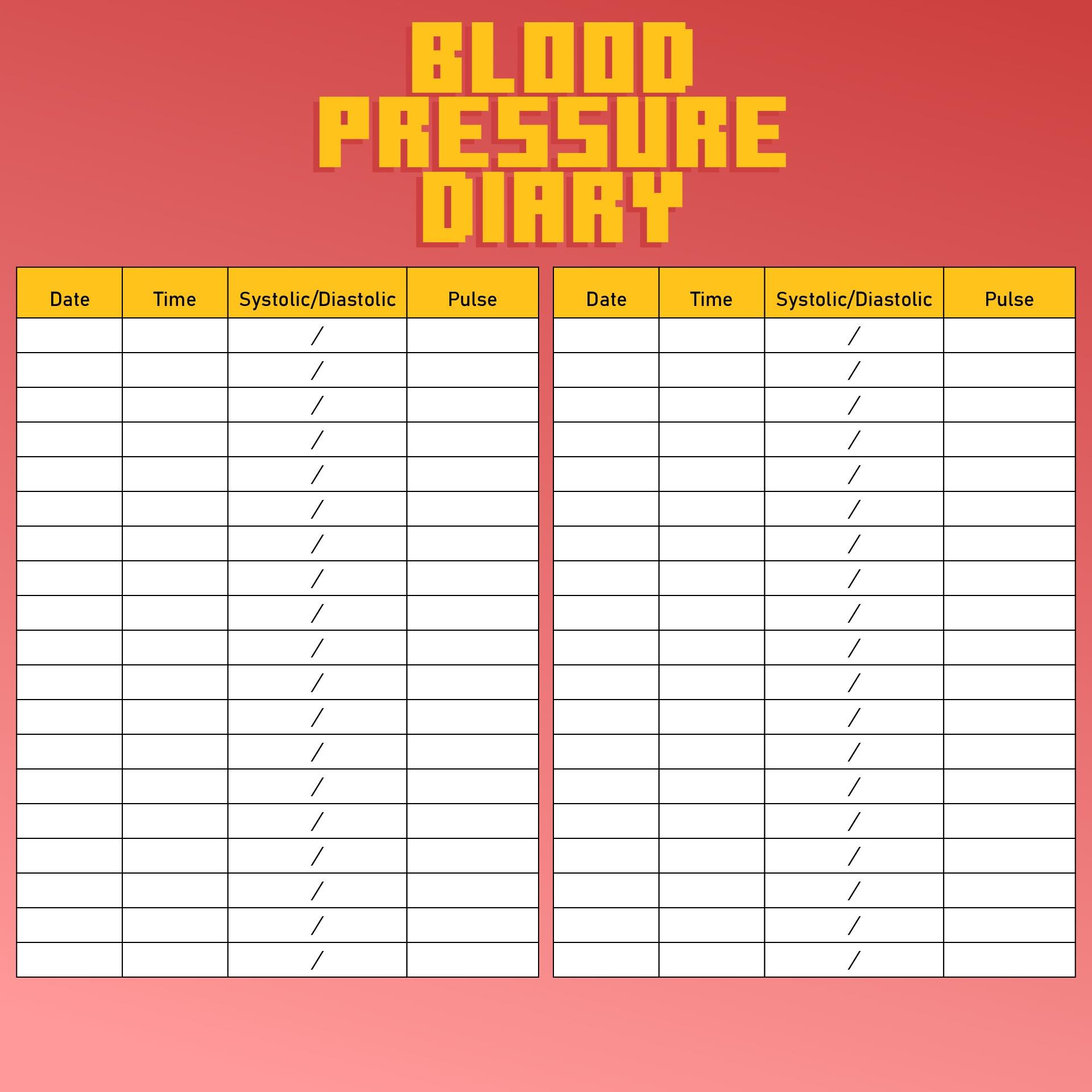 8 Best Images Of Sugar Blood Pressure Log Printable