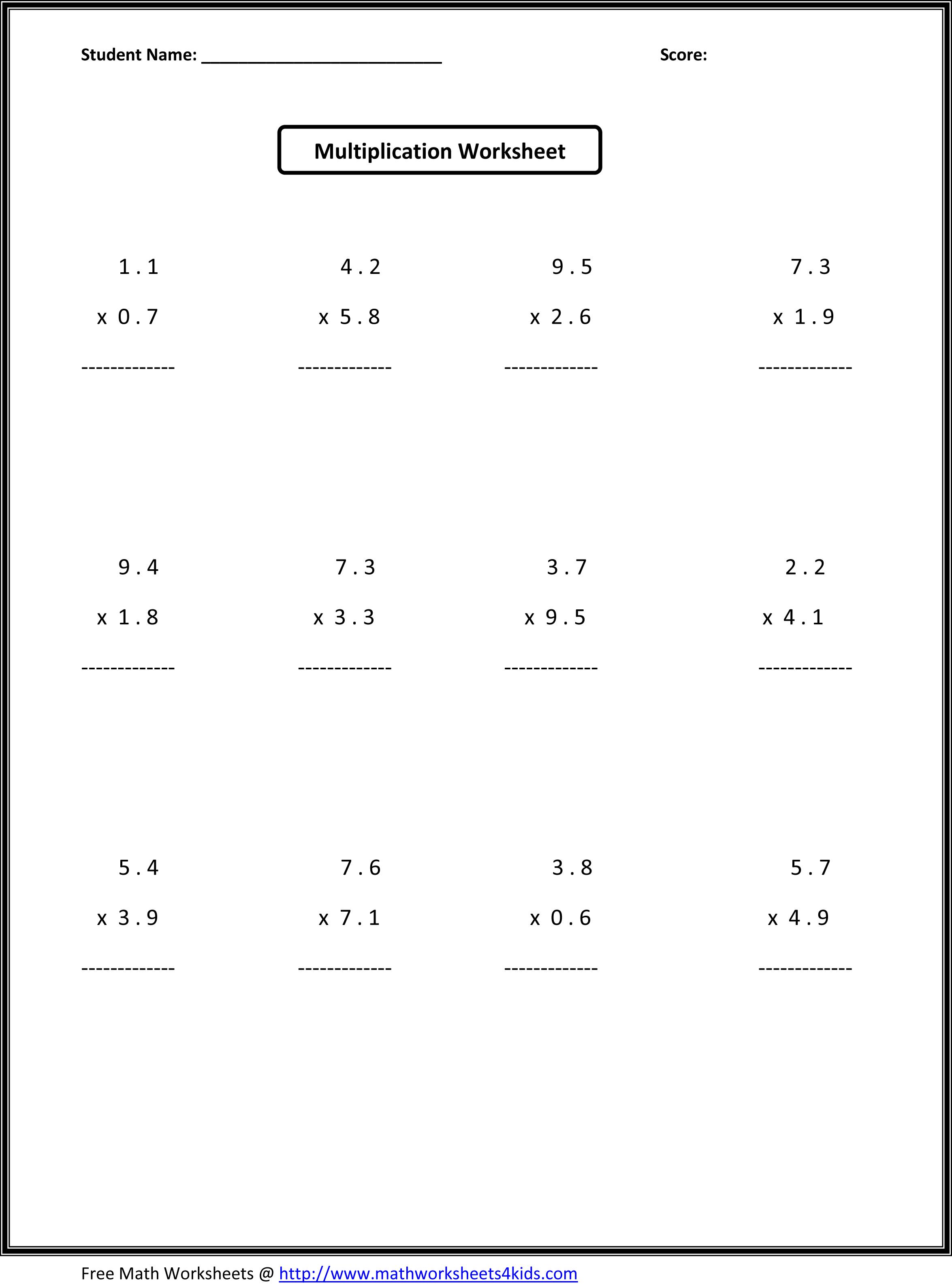 8 Best Images Of School Math Printables 7th Decimals