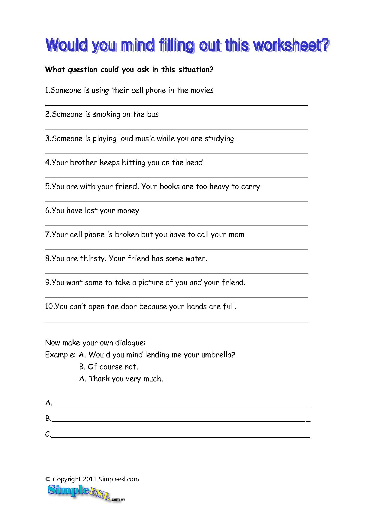 7 Best Images Of Free Printable Esl Worksheets For Adults