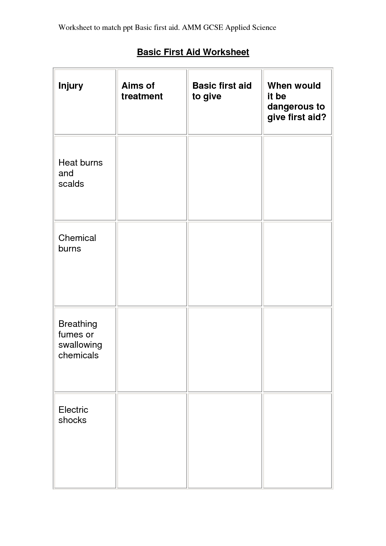 6 Best Images Of Free Printable First Aid Worksheets