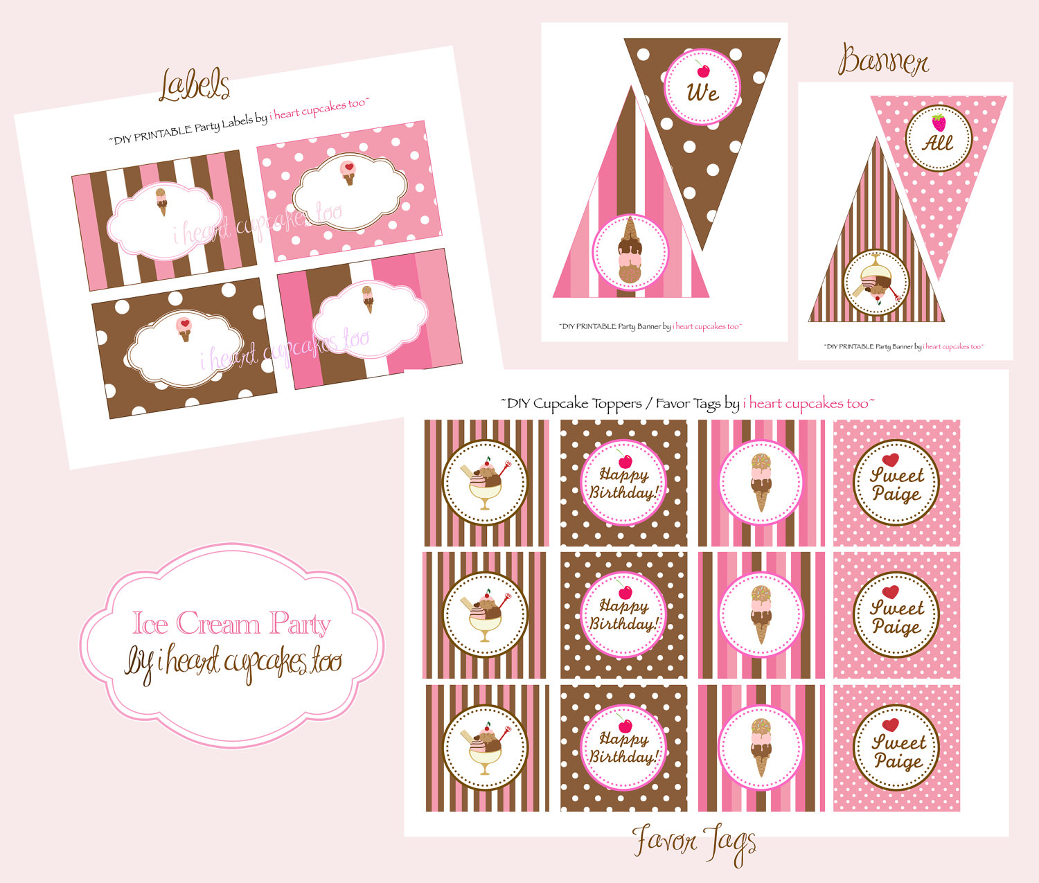 5 Best Images Of Ice Cream Sundae Patterns Printable