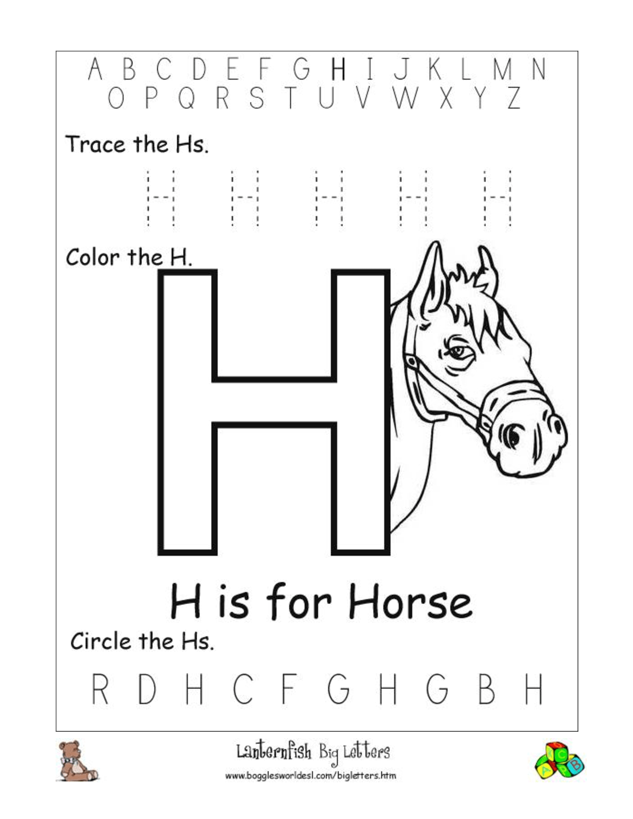 5 Best Images Of Printable Alphabet Letter H Worksheets