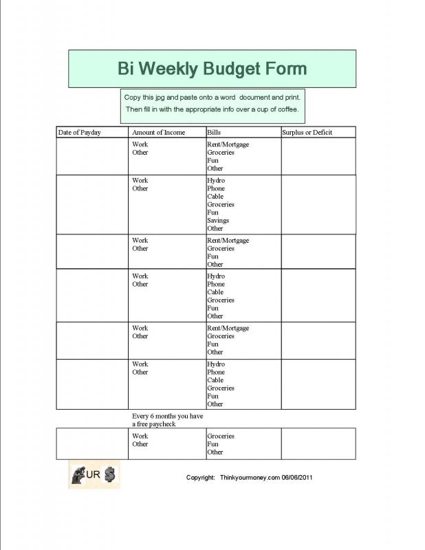 Printable Bi Weekly Budget Worksheet