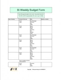 Printable Bi Weekly Budget Worksheet