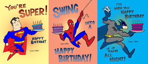 superhero birthday cards