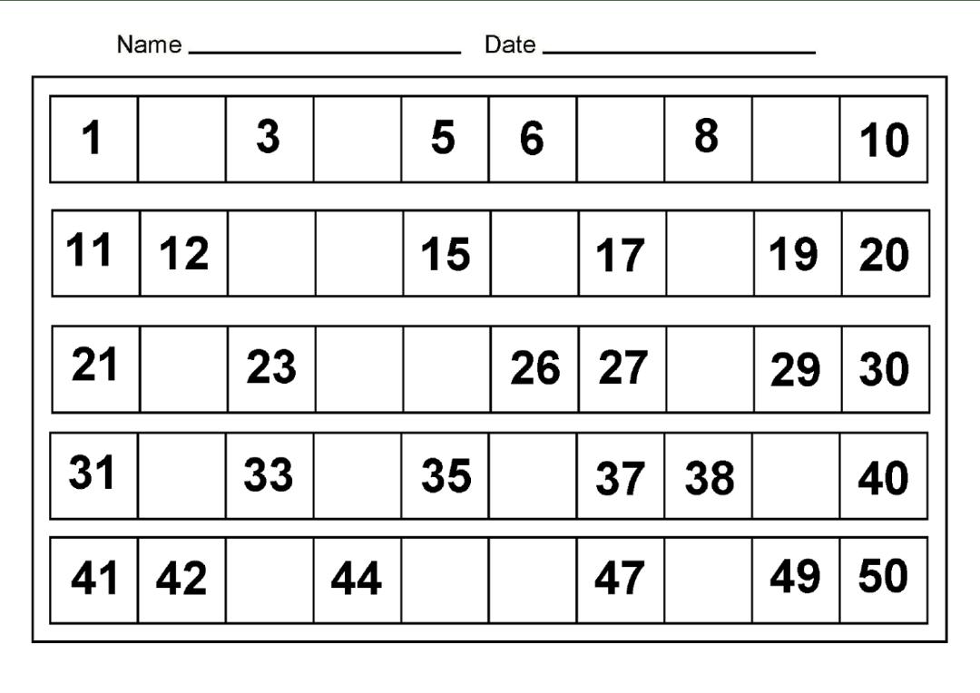 4 Best Images Of Printable Number 1 50 Worksheet