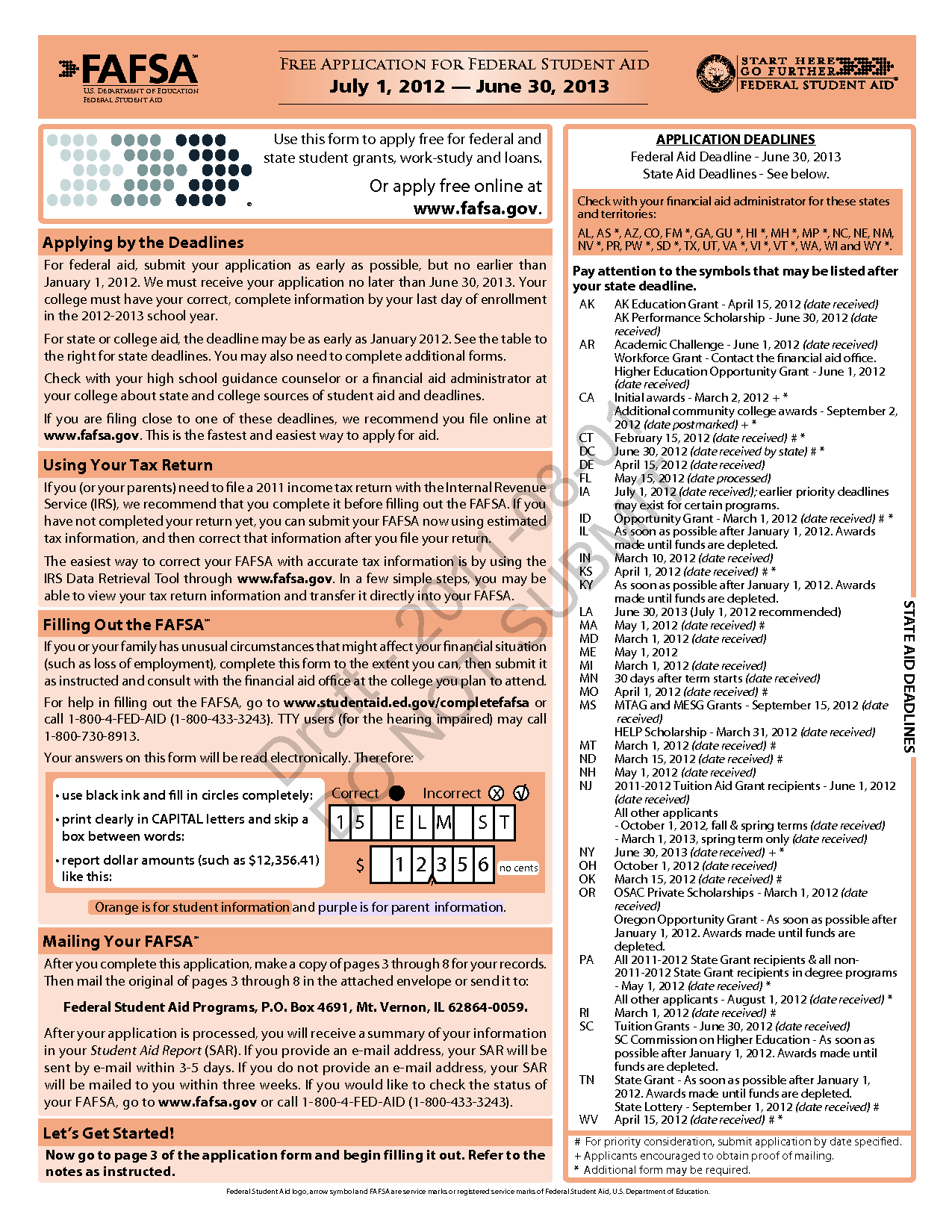Fafsa Deadlines Printables Fafsa Worksheet Ronleyba Worksheets Printables