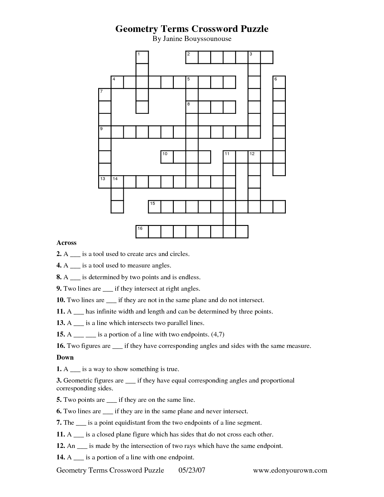 4 Best Images Of Geometry Crossword Puzzles Printable