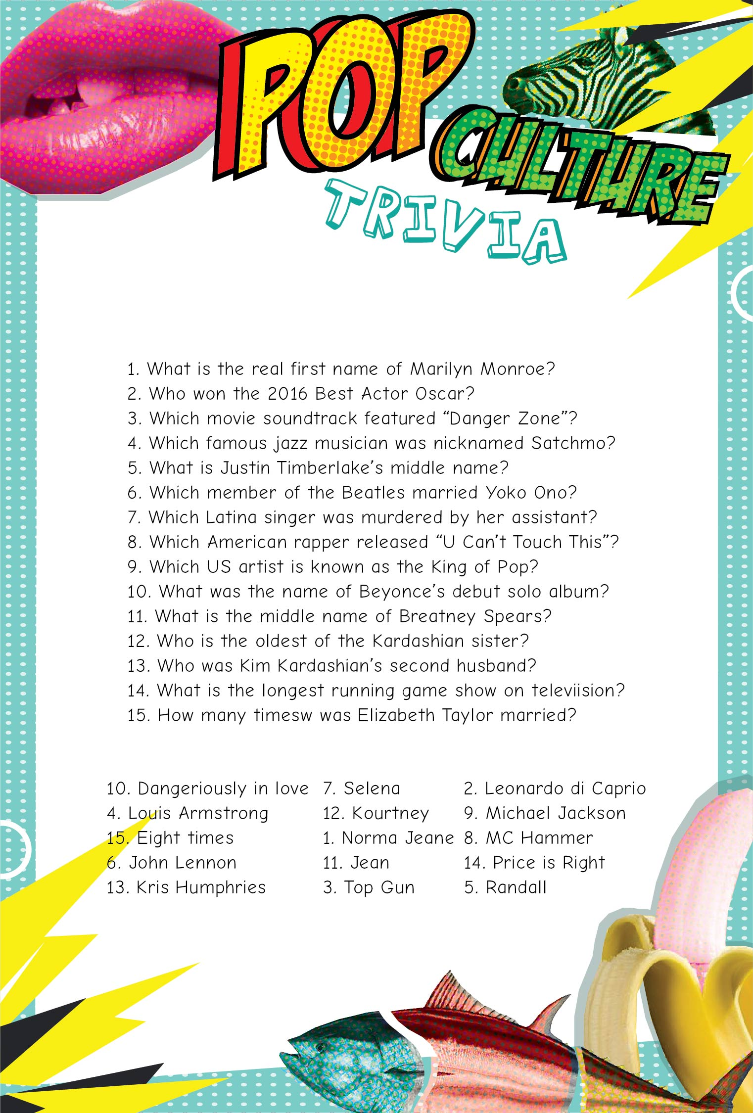 6 Best Images Of Printable Kids Trivia Questions And