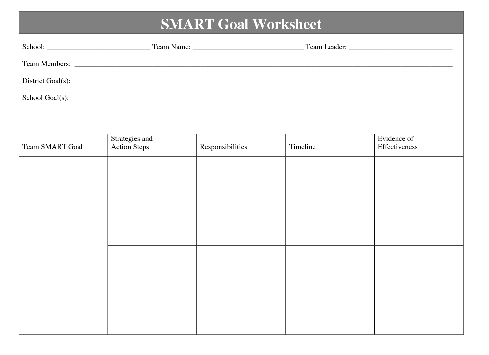 Printables Smart Goal Worksheet Tempojs Thousands Of