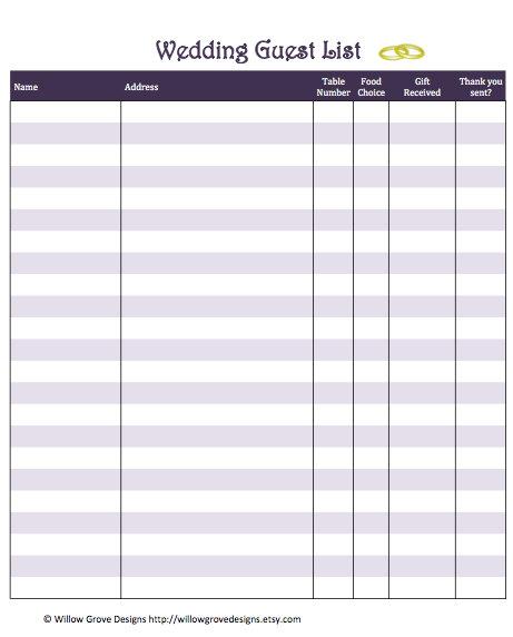 Doc601468 Printable Wedding Guest List Template Sample – Guest List Sample