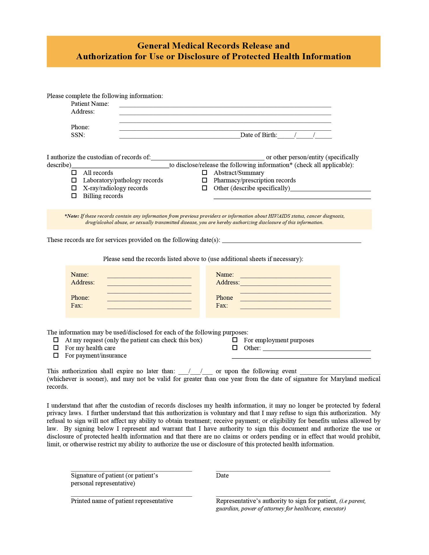 7 Best Images Of Free Printable Medical Release Form
