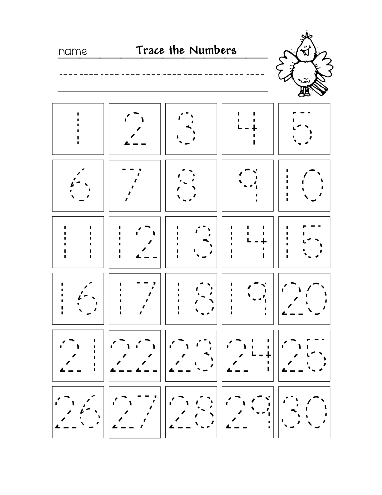 8 Best Images Of Printable Numbers 1 30 Worksheet