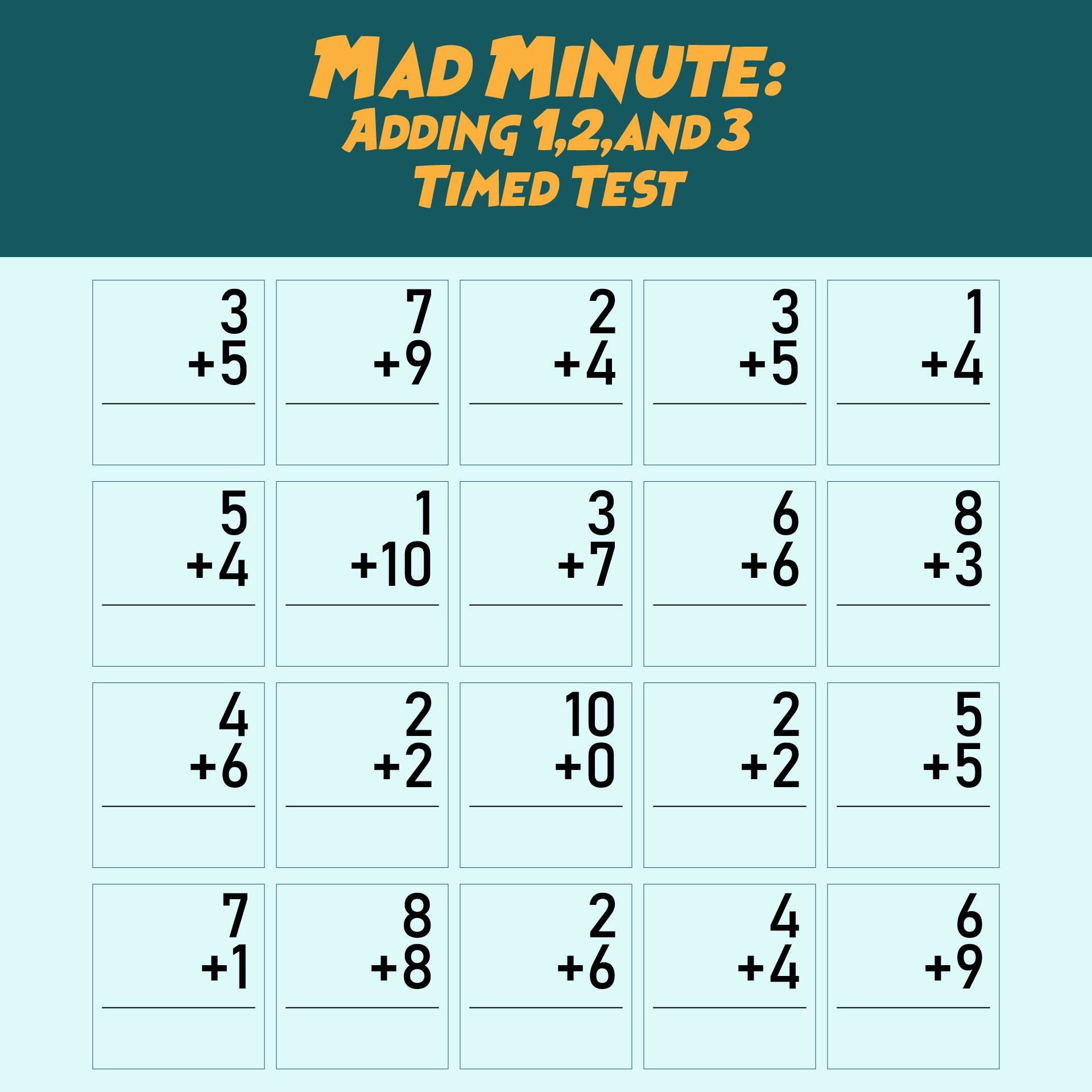 Multiplication Mad Minute Math Drill Worksheet