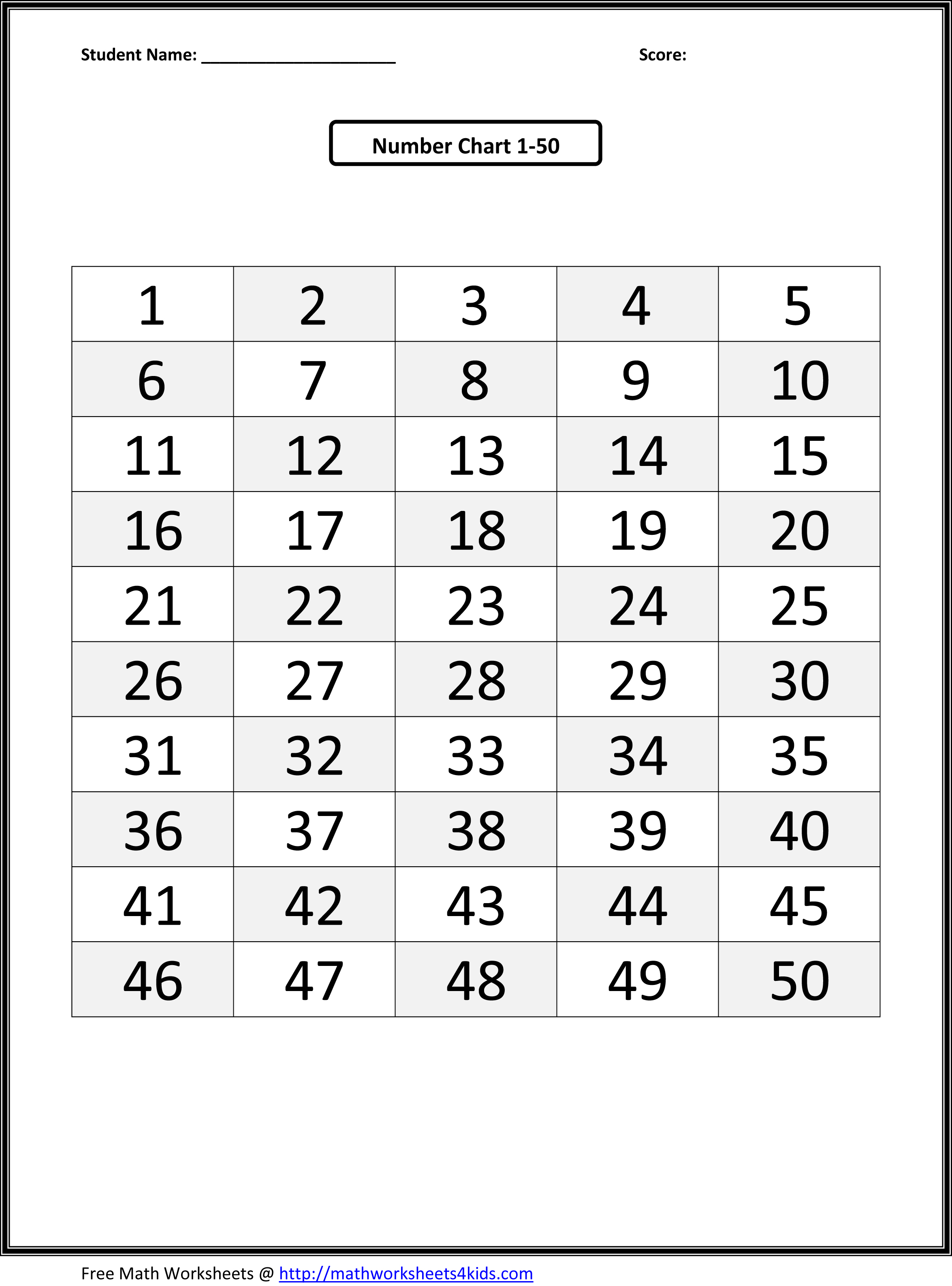 6 Best Images Of Printable Number Chart 1 50