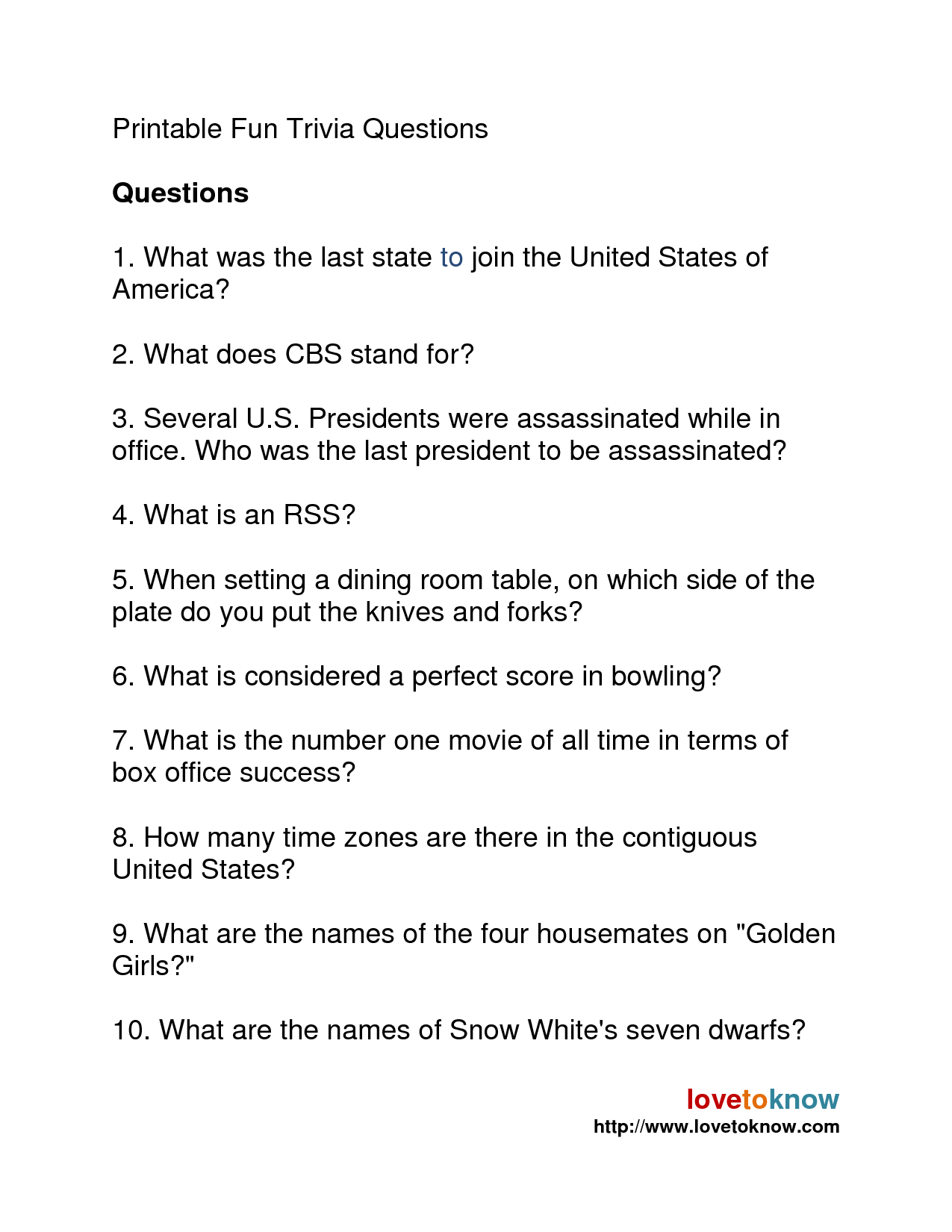 5 Best Images Of Printable President Trivia