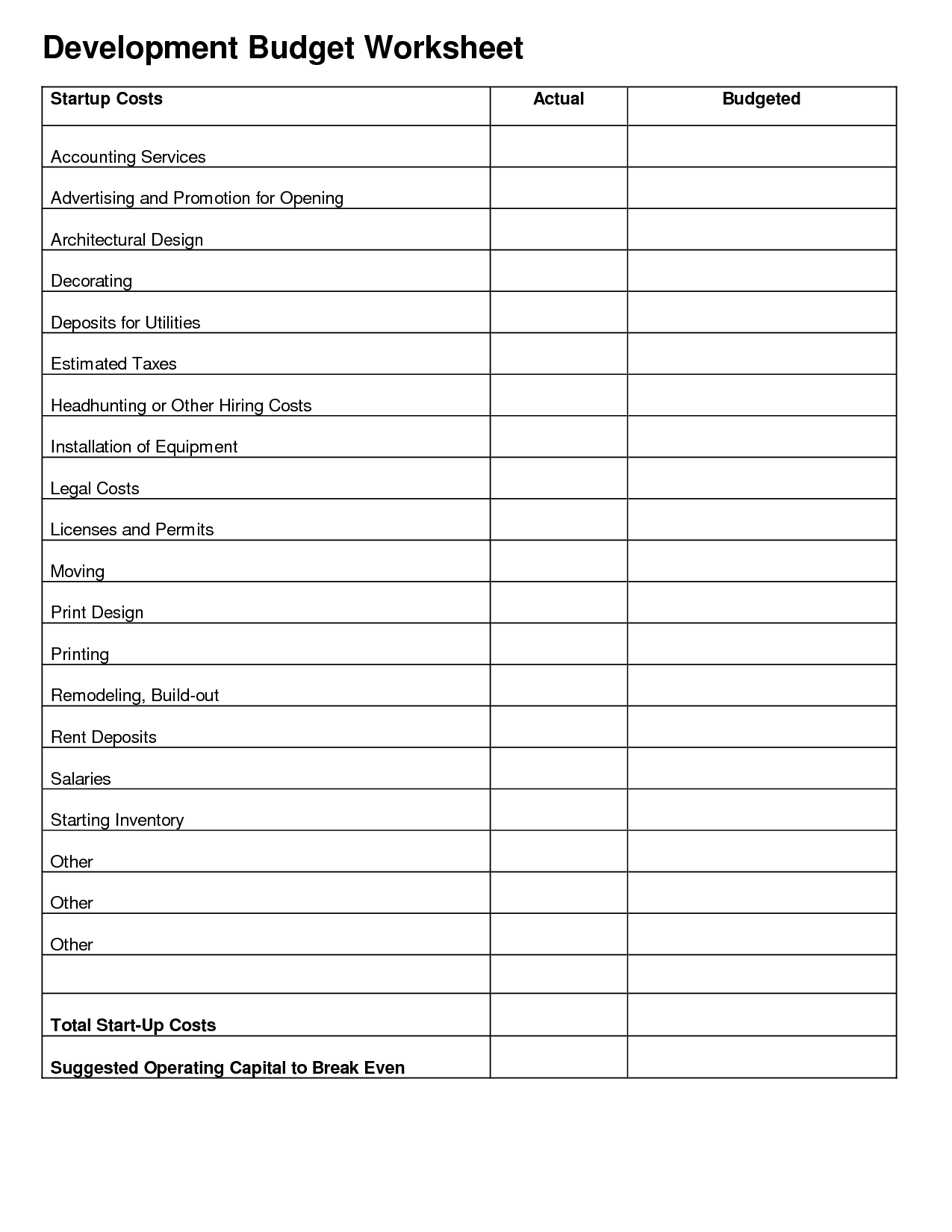 Printables Expenses Worksheet Mywcct Thousands Of