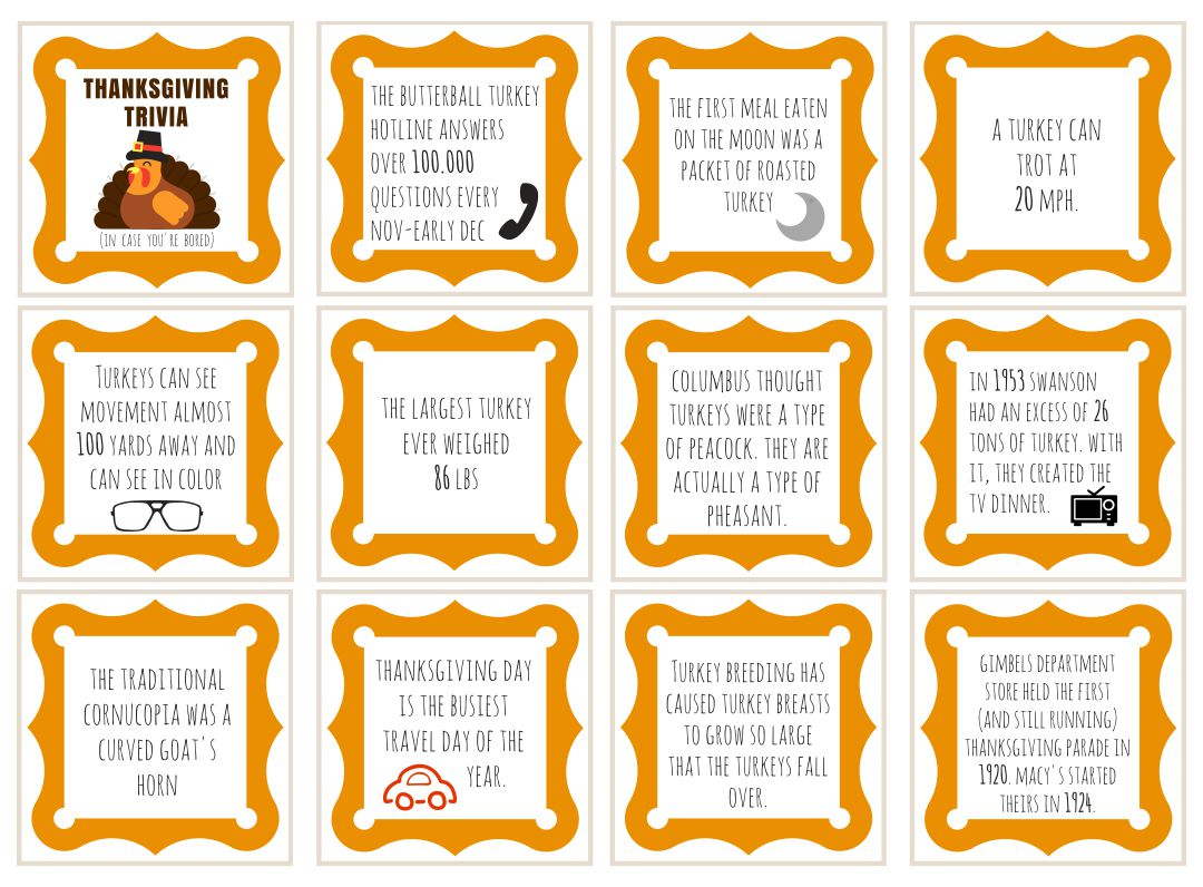 6 Best Printable Thanksgiving Trivia