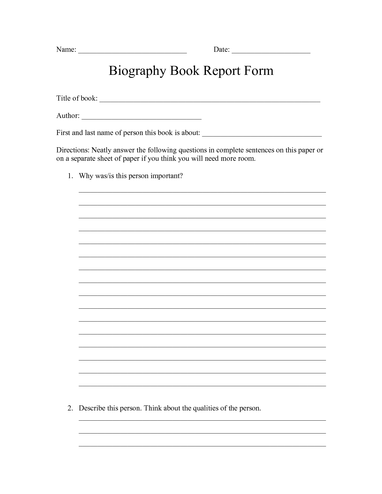 Book Report Form Biography Elementary