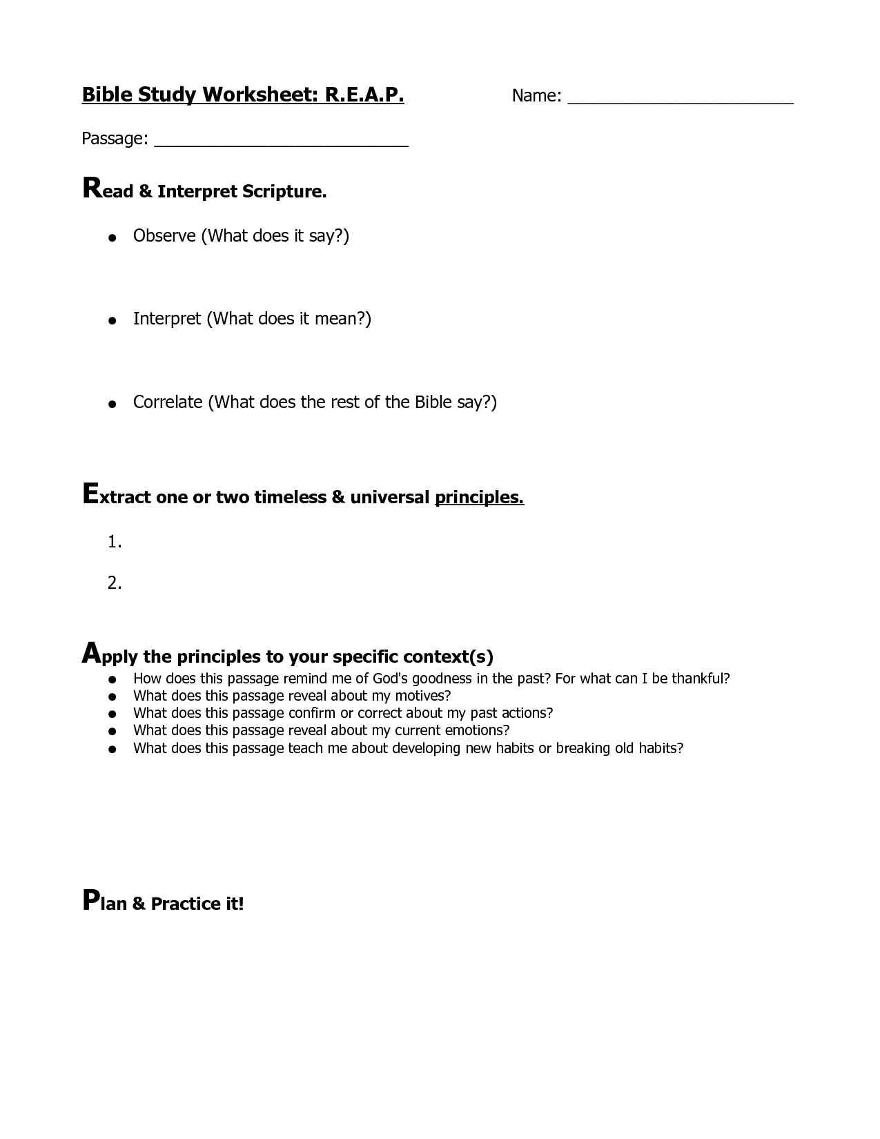 6 Best Images Of Free Bible Study Printable Worksheets