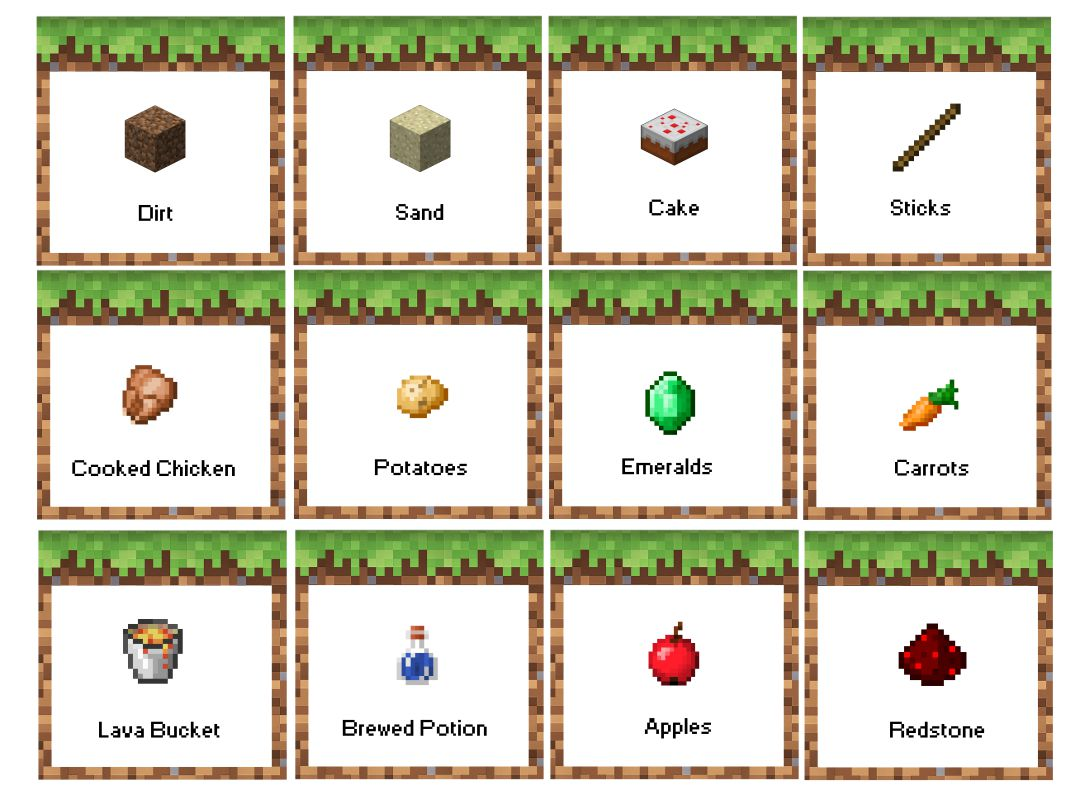 printable food tent cards minecraft