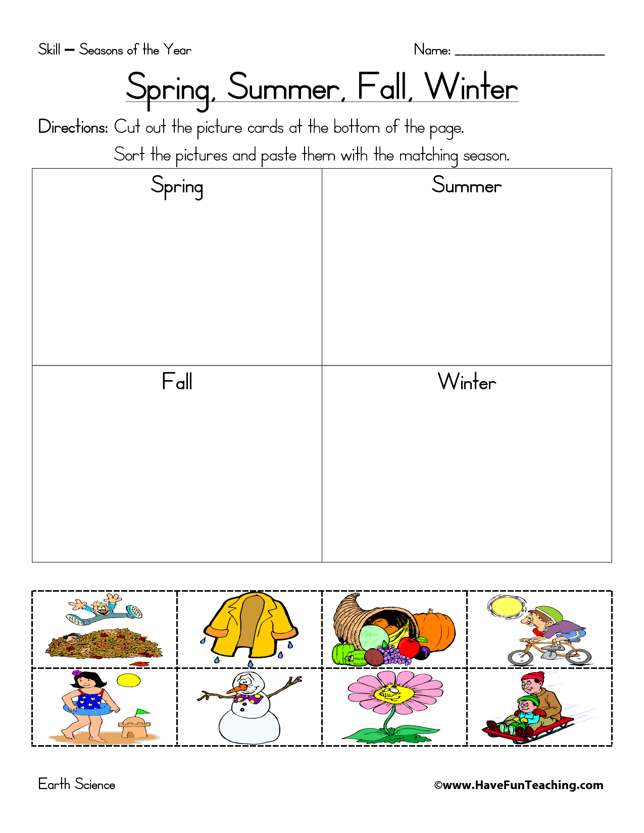 Seasons Matching Worksheet And Holiday Of The Year