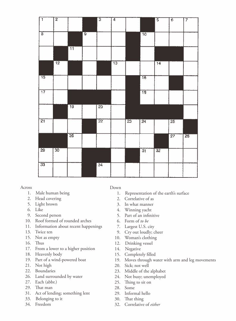 4 Best Free Printable Entertainment Crossword Puzzles