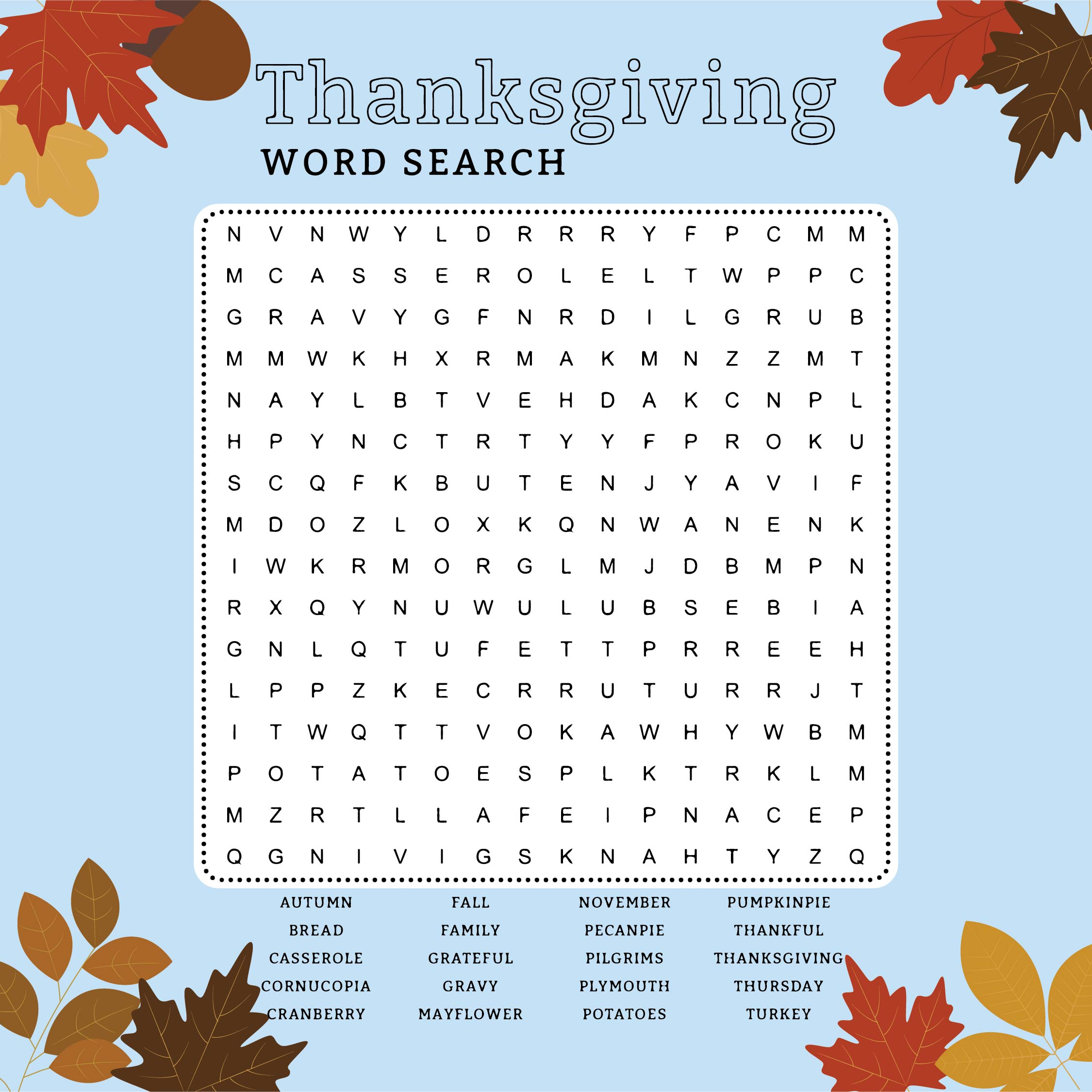 6 Best Images Of Thanksgiving Words Printable