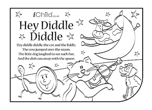 5 Best Images of Hey Diddle Diddle Nursery Rhyme Coloring