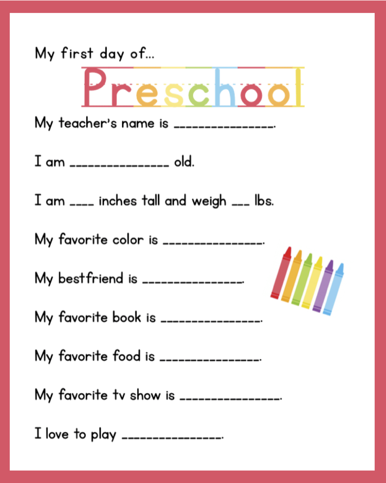 9 Best Images Of First Day Of Preschool Printable
