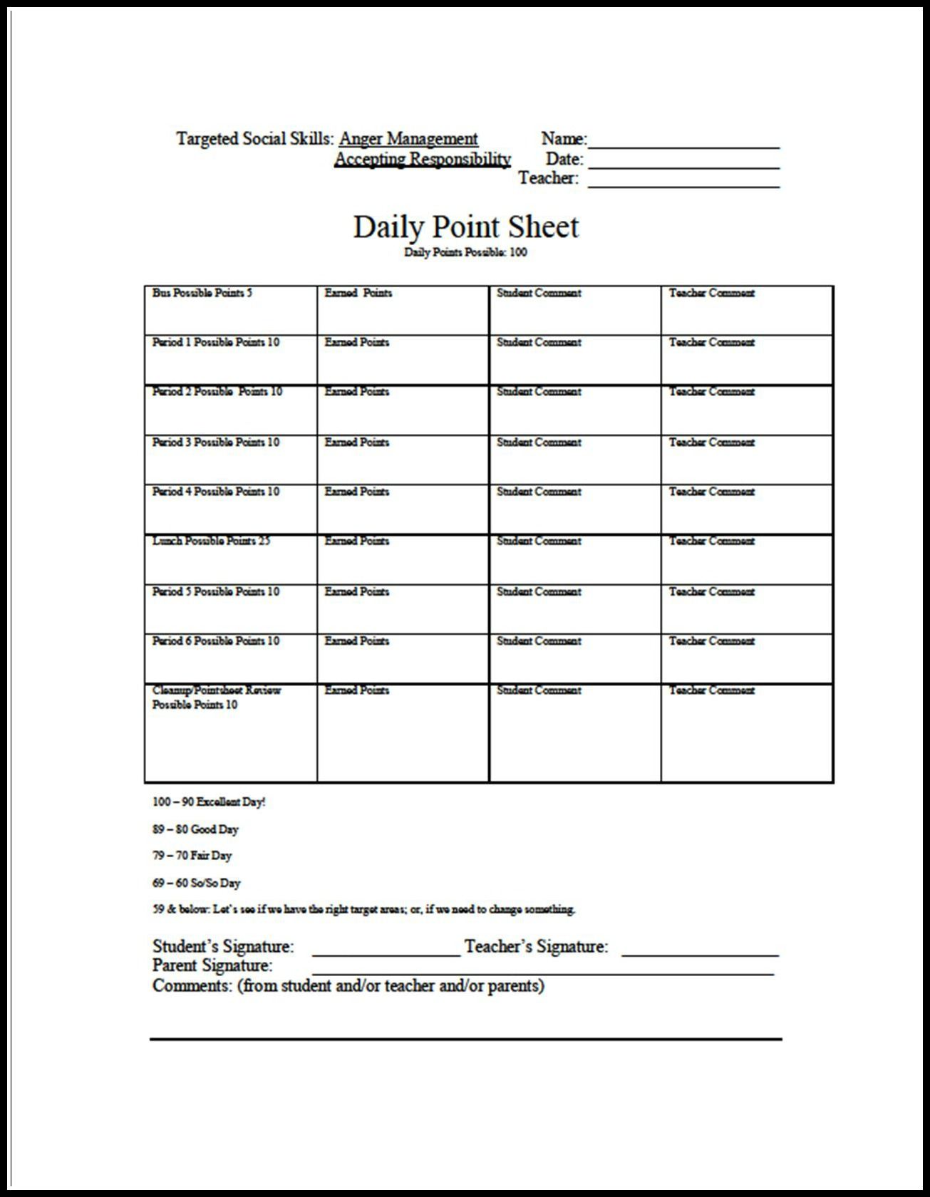 6 Best Images Of Behavior Charts Middle School Printables