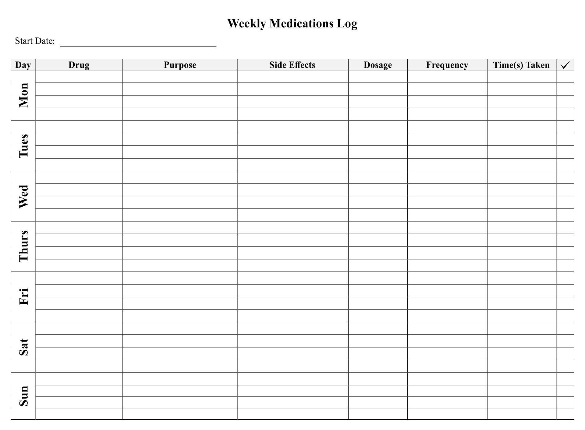 7 Best Printable Medication List For Adult