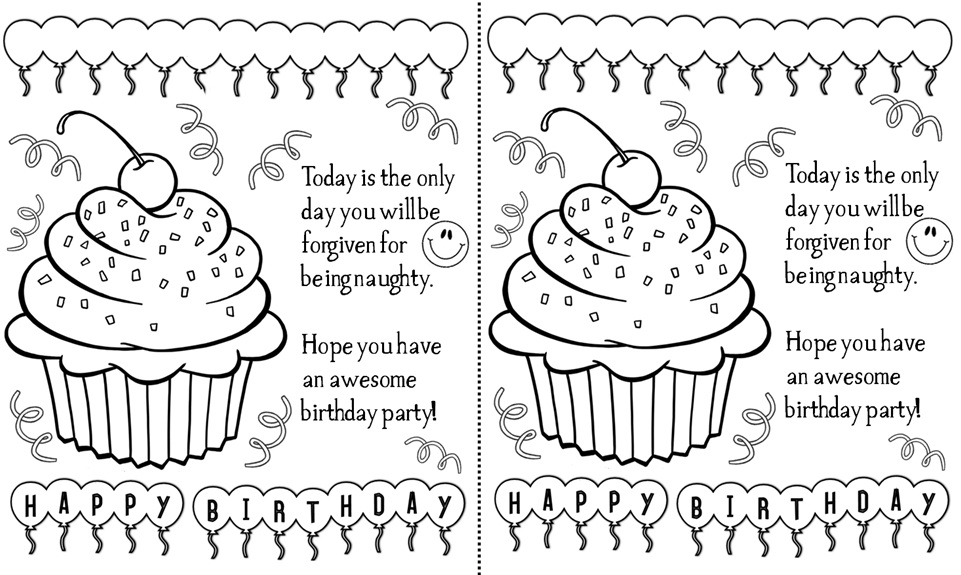 5 Best Images of Black And White Printable Birthday Cards